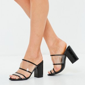 Black Clear Shoes Open Toe Chunky Heel Mule