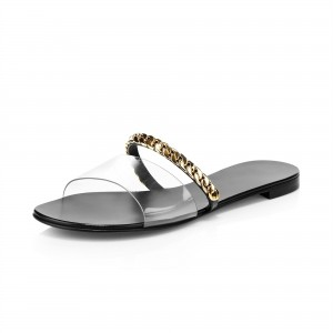 Black Clear PVC Women's Slide Sandals With Gold Chains