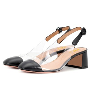 Black Clear Slingback Block Heels Pumps