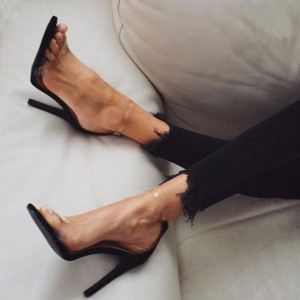 Black Clear Stiletto Heel Ankle Strap Sandals