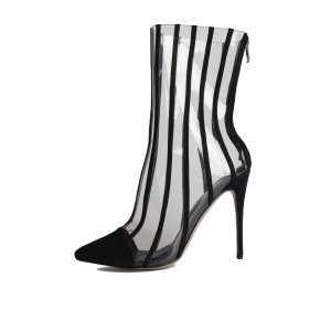 Black Clear Stripes Pointy Toe Stiletto Heel Ankle Booties
