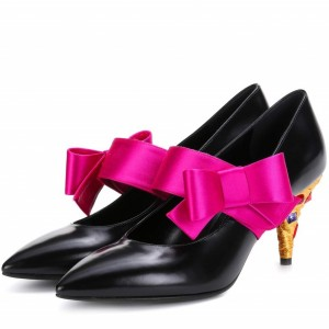 Black Colors Rhinestone Cone Heels Mary Jane Pumps with Hot Pink Bow
