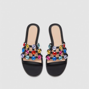 Black Colors Rhinestone Open Toe Flats Mule Summer Sandals