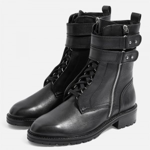 Black Combat Boots Lace Up Buckle Ankle Boots