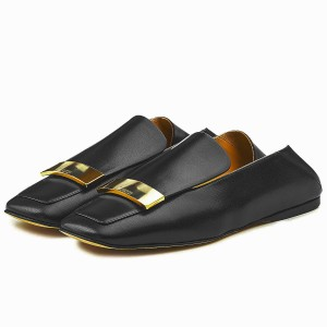 Black Loafer Mules Square Toe Office Flat Loafers for Women