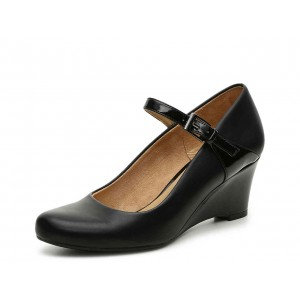 Black Commuting Wedge Heels Mary Jane Shoes for Office Lady