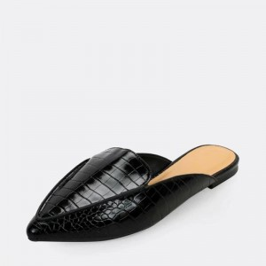 Black Croc Print Pointed Toe Loafer Mules