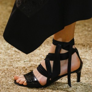 Black Croco Open Toe Kitten Heels Strappy Sandals