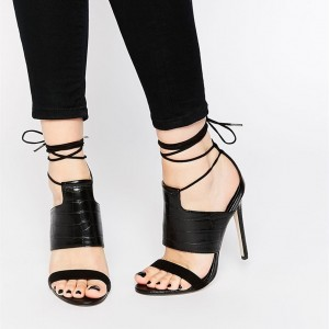 Black Croco Strappy Sandals Sexy Stiletto Heels Sandals for Women