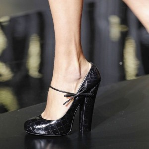 Black Croco Vegan Leather Mary Jane Pumps Chunky Heels Platform Pumps