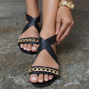 Black Cross Over Chains Buckles Comfortable Flats