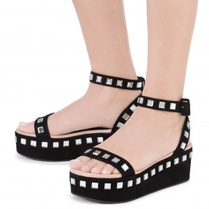 Black Crystal Open Toe Ankle Strap Platform Sandals