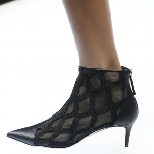 Black Curves Mesh Kitten Heel Boots Ankle Boots