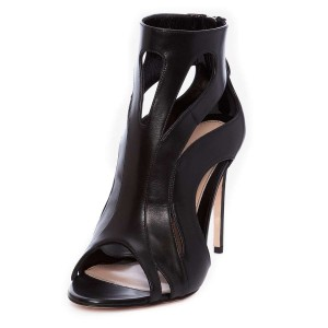 Black Cut out Stiletto Heel Summer Boots