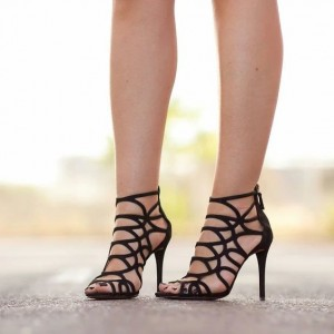 Black Cut out Stiletto Heels Gladiator Sandals Peep Toe Sandals