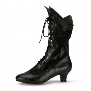 Black Dark Witch Costumes Lace Mid-calf Boots Low Heel Lace up Boots
