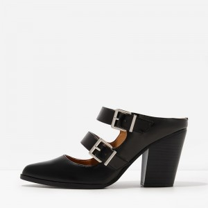 Black Double Straps Buckles Block Heel Mule