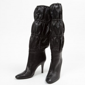 Black Elastic Band Fashion Boots Stiletto Heel Mid Calf Boots