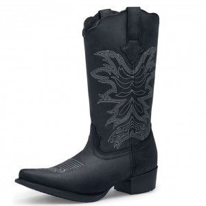 Black Embroider Cowgirl Boots Block Heel Mid Calf Boots