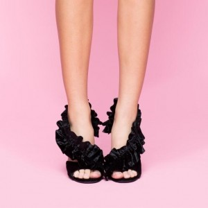 Black Evening Shoes Ruffles Heels Stilettos Sandals