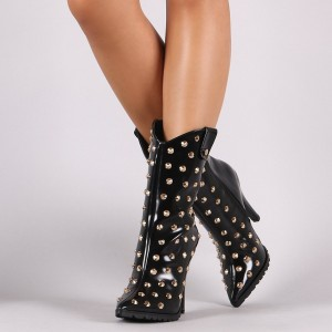 Black Fashion Boots Pointy Toe Pencil Heel Ankle Booties with Rivets