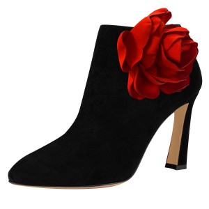 Black Fashion Boots Suede Chunky Heel Flower Booties