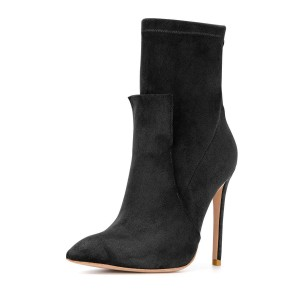 Black Fashion Zip Stiletto Boots Pointy Toe Suede Ankle Boots By FSJ