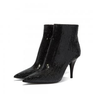 Black Fish Scale Fashion Boots Stiletto Heel Ankle Boots