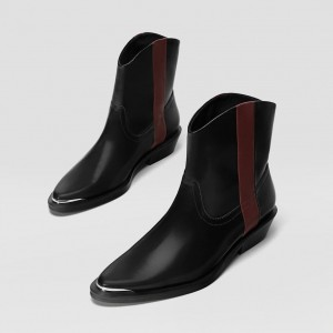 Black Flat Ankle Booties with Burgundy Stripe