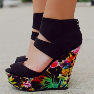 Black Floral Heels Peep Toe Platform Wedge Sandals