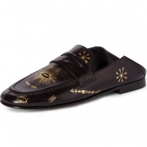 Black Floral Square Toe Loafers for Women Comfortable Flats