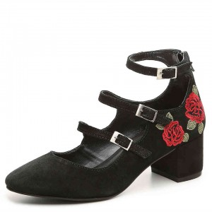 Black Flower Embroidered  Mary Jane Shoes Buckles Chunky Heel Pumps