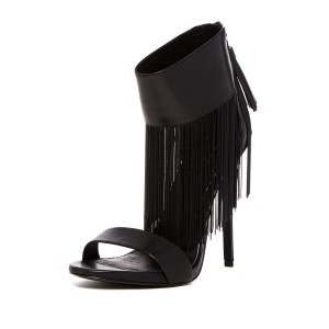 Black Fringe Sandals Stiletto Heel Ankle Strap Sandals