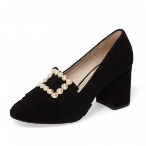 Black Fringe Suede Round Toe Loafers for Women Pearl Block Heels Shoes