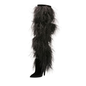 Black Fur Boots Pointy Toe Cone Heels Knee-high Boots