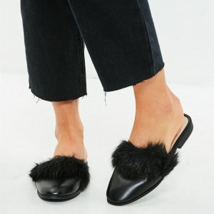 Black Fur Mule Comfortable Flats