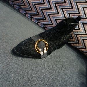 Black Flat Short Fashion Boots with Gold Embellishment