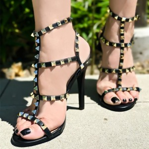 Black Gladiator Heel Stiletto Heel Sandals with Studs