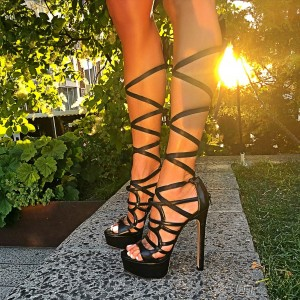 Black Gladiator Heels Sandals Knee-high Platform High Heels Shoes