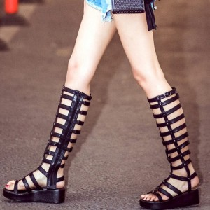 Black Knee High Gladiator Sandals Open Toe Fashion Platform Sandals