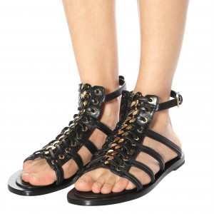 Black Gladiator Sandals Open Toe Flats Slingback Sandals with Chain