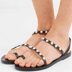 Black Jeweled Greek Sandals Pearl Toe Loop Sandals