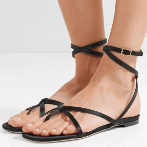 Black Gladiator Sandals Vintage Strappy Sandals Beach Sandals