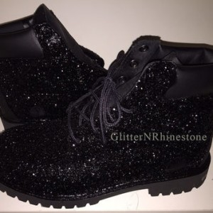 Black Comfortable Shoes Lace Up Glitter Biker Boots