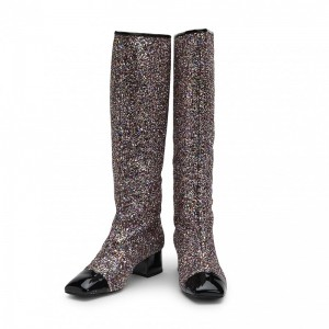 Black Glitter Boots Square Toe Chunky Heel Knee High Boots