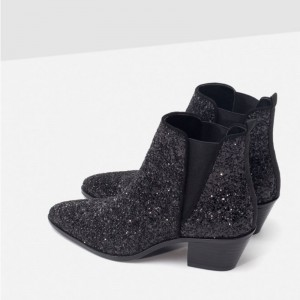 Black Glitter Shoes Chunky Heel Boots Pointy Toe Ankle Chelsea Boots