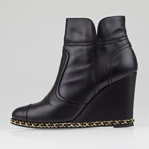 Black Gold Chains Wedge Booties