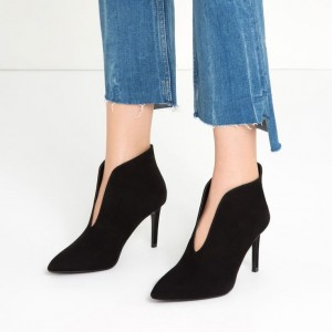Black Heeled Booties Suede Pointy Toe Stiletto Boots for Women