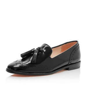 Black Hollow out Round Toe Flats Tassels Loafers for Women