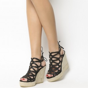Black Espadrille Wedge Sandals Peep Toe Sparkly Platform Sandals